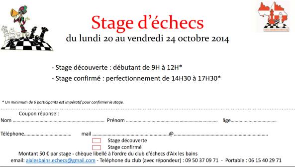 stage toussaint 2014